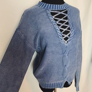 Blue denim color knitted sweater